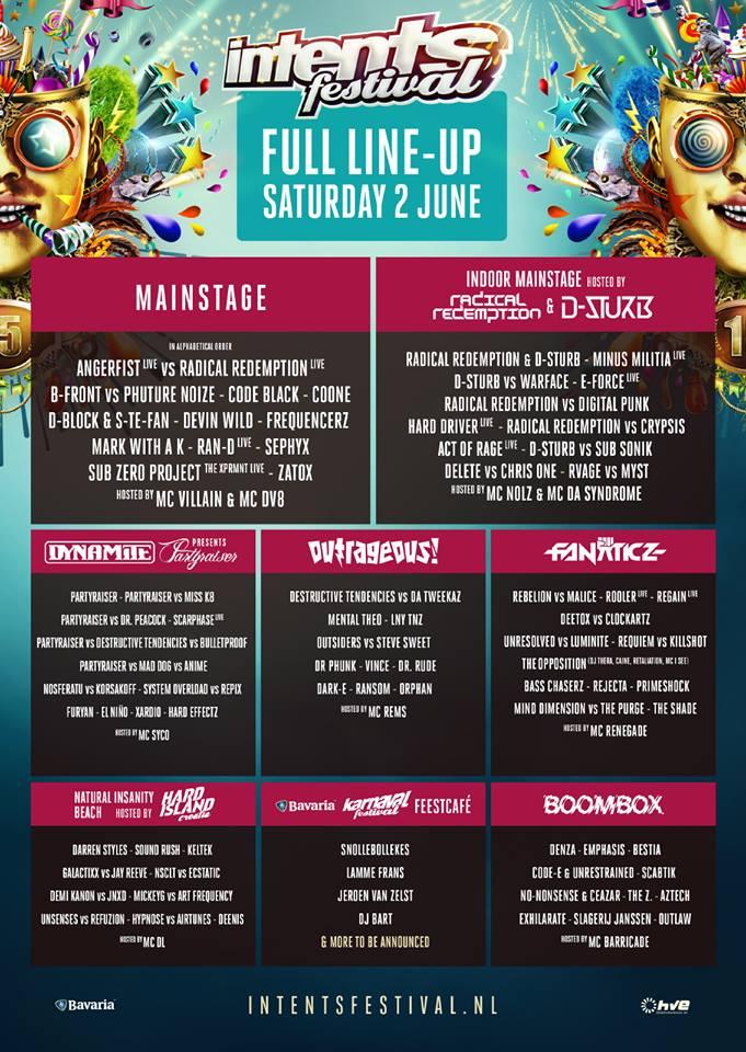 Intents Festival 2018 line-up zaterdag